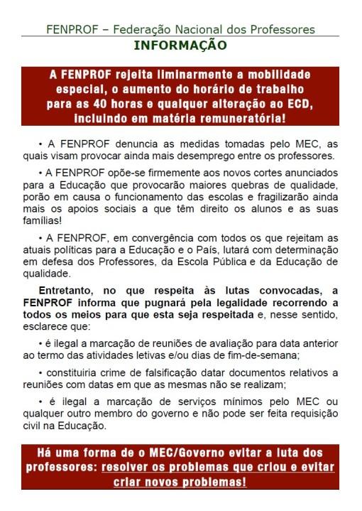 Informacao site FENPROF greve